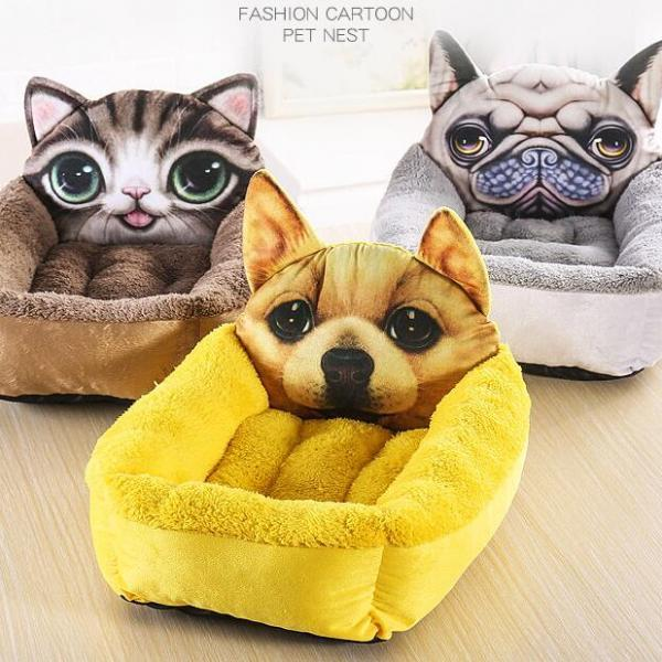 Litter Pet Dog Bed Pet Supplies,Cartoon Kennel Warm Cat 50x60cm