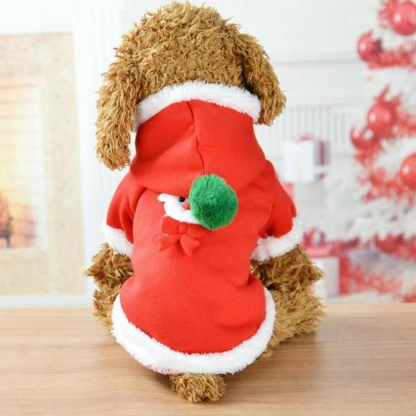 Soft Cotton Pet Dog Santa Costume with Hooded Cap, pet decorations dog clothes Christmas elk casual coat