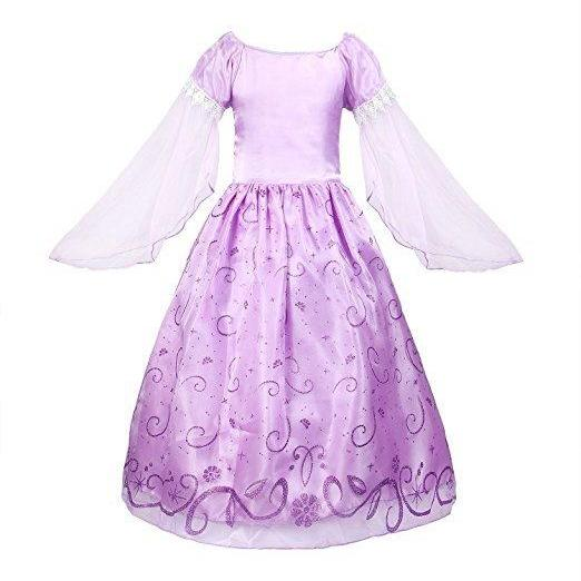 Free Shipping Long Sleeve Lilac Girls Princess Dresses Costume for Birthday Party Gowns Long Satin Pageant Gowns
