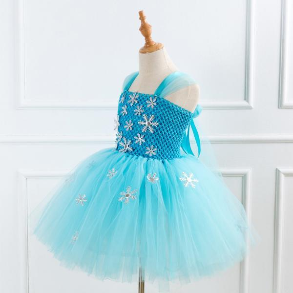 Free Shipping Princess Blue Girls Tutu Costume Dress Ball Gown Tulle Outfits Cheap Birthday Party Dress for Children