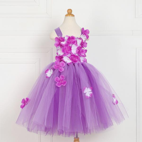 Free Shipping Princess Lavender Girls Costume Dress With Hand Made Flowers Ball Gown Cheap Children Outfits for Birthday Party