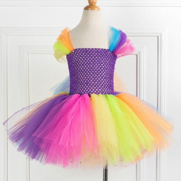 Free Shipping Cap Sleeve Colorful Girls Costume Outfits Dress for Pageant Children Dress Birthday Party Gowns Ball Gowns